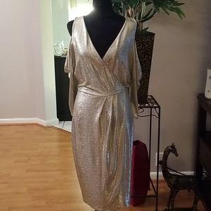 Gorgeous gold cold shoulder dress